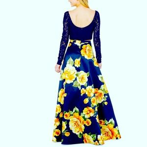 BSmart Prom Dress, Ball Gown, Blue Floral,